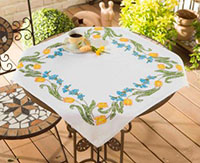 Yellow Tulips Wreath Tablecloth