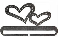Stitched Hearts Split Bottom Charcoal Bellpull