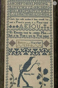 Betty Taylor's 1794 Sampler Reproduction