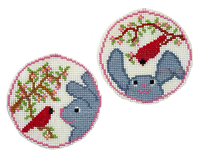 Cardinal Greets Bunny Circle Ornaments