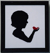 Silhouette Faces - Girl with Red Bird