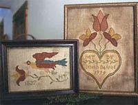 Fraktur Bird & Wedding Heart
