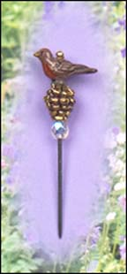 Robin on Pinecone Charm Garden Pin
