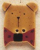 43001 Gold Teddy Bear w/Red Bow Tie Debbie Mumm Button
