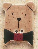 43002 Brown Teddy Bear w/Green Bow Tie Debbie Mumm Button