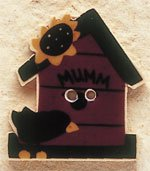 43020 Birdhouse w/Crow & Sunflower Debbie Mumm Button