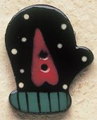 43025L Dotted Left Mitten w/Heart Debbie Mumm Button