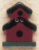 43031 Dark Red Birdhouse Debbie Mumm Button