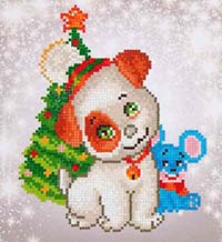 Christmas Pug & Mouse -  Diamond Dotz Kit
