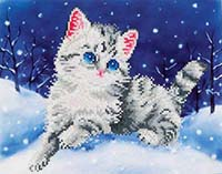 Kitten in the Snow -  Diamond Dotz Kit