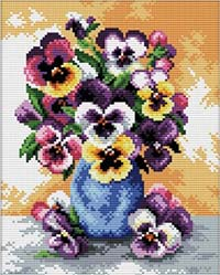 Vase of Pansies  - No Count X-Stitch Kit