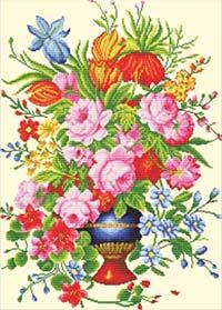 Elegant Floral Arrangement  -  No Count X-Stitch Kit