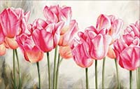 Pink Tulips -  No Count X-Stitch Kit