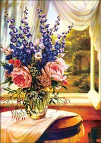 Floral Vase by the Window - No Count X-Stitch Kit
