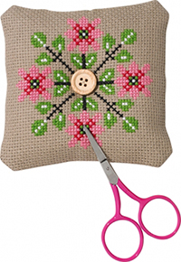 Pink Flower Needlepillow Kit