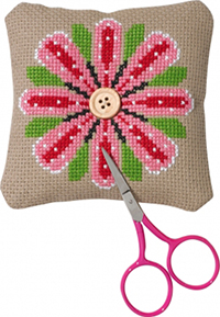 Lg. Pink Flower Needlepillow Kit