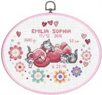 Girl Birth Announcement with Oval Frame Kit