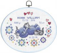 Boy Birth Announcement with Oval Frame Kit