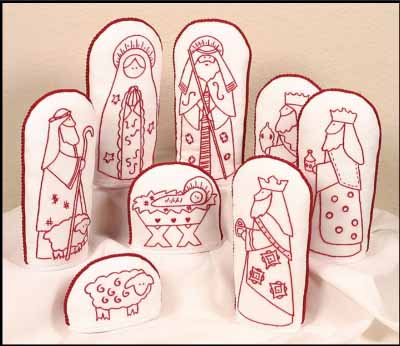 Folk Art Redwork Nativity Kit