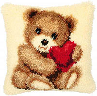 Bear Cub With Heart Latch Hook Cushion Kit