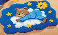 Blue Bear on Cloud Shaped Rug Latch Hook Kit