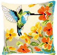 Hummingbird with Flowers Cushion Kit