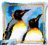 King Penguins Latch Hook Cushion Kit