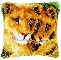 Lioness and Cub Latch Hook Cushion Kit