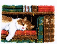Cat on Bookshelf Latch Hook Rug Kit