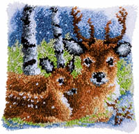 Deer in the Snow Cushion Latch Hook Kit