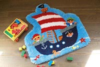 Pirate Ship Latch Hook Shape Rug Kit