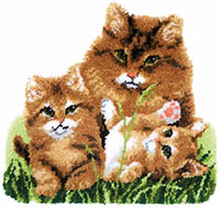 Cat Family Latch Hook Rug Kit