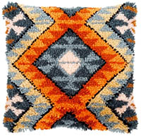 Boho Ethnic Print Cushion Latch Hook Kit