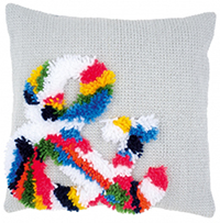 Bright Ampersand Cushion Latch Hook & Chain Stitch Kit