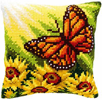 Butterfly with Sunflowers Cushion Kit