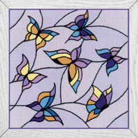 Stained Glass Window Butterflies Cushion Panel Kit