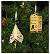 Merry Little House and Gold Tassel Ornaments