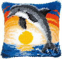 Dolphin at Sunset Latch Hook Cushion Kit