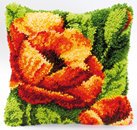 Orange Poppy Latch Hook Cushion Kit