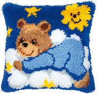 Blue Bear Cub with Clouds Latch Hook Cushion Kit