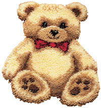 Brown Bear with Bow Latch Hook Rug Kit