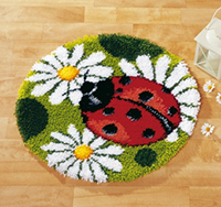 Ladybug Shape Latch Hook Rug Kit