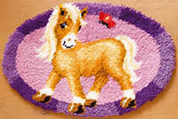 Pony with Butterfly Latch Hook Rug Kit
