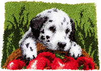 Dalmation with Apples Latch Hook Rug