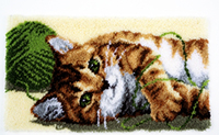 Playful Cat Latch Hook Rug Kit