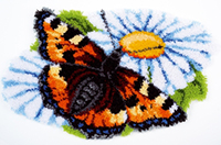 Butterfly on Daisy Latch Hook Rug Kit