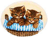 Kittens in Basket Rug Latch Hook Kit