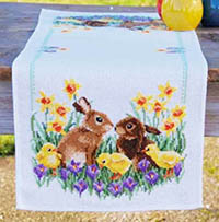 Rabbits with Chicks Table Runner Kit