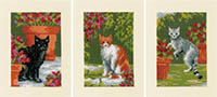 Cats with Flowers Card Set of 3 Kit