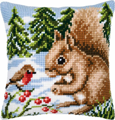 Squirrel in Snow Cushion Kit
